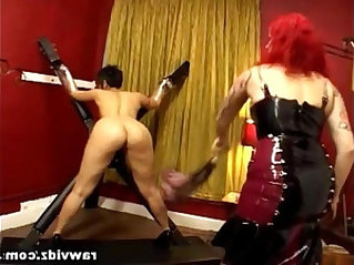 Lesbian BDSM Tied Whip Strap On Fuck