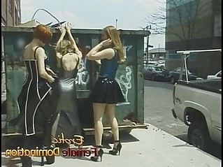 Three lesbians having some naughty fun in public