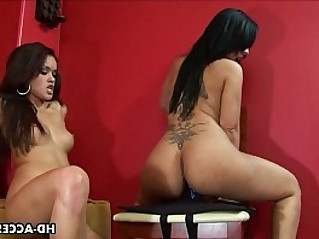 Sexy Latina lesbians dildo inserting