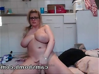 Busty Hot Blonde Fucked By Dildo On Webcam