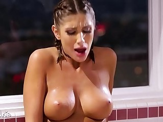 Perfect lesbian couple in the bathtub August Ames, Cassidy Klein