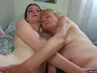 Nice Old granny teaches Nice girl to masturbate