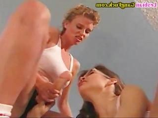 Lesbian Strapon Gangbang