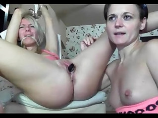 Cute blonde tied up and fucked by lesbian lover watch live